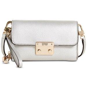 Guess Bags - Mini SILVER Metallic Crossbody Wristlet Clutch Bag